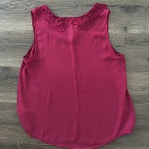 Burgundy Top Scalloped Suede Peter Pan Collar